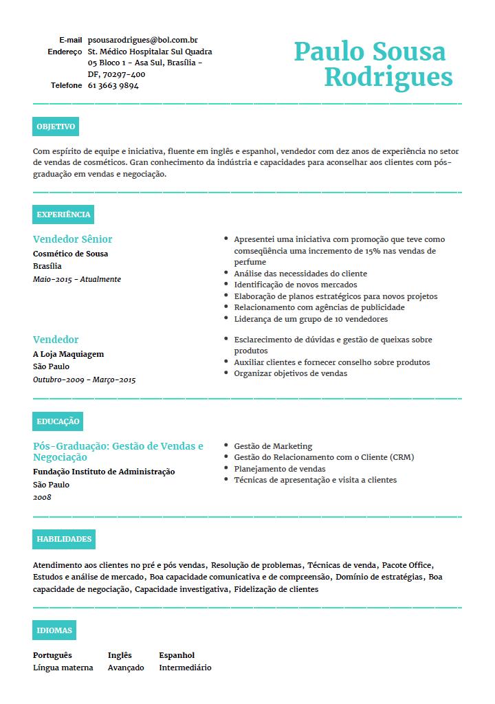 Curriculum Vitae Portuguese